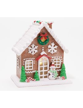 Classic Or Pastel Lit Gingerbread House By Valerie by The Valerie Parr Hill Collection