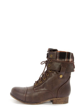 Bamboo Surprise 01 N Brown Lace Up Convertible Combat Boots by Lulu's