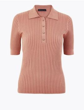 Button Detailed Collared Neck Jumper by Marks & Spencer