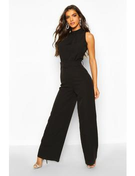 Belted High Neck Sleeveless Tailored Jumpsuit by Boohoo