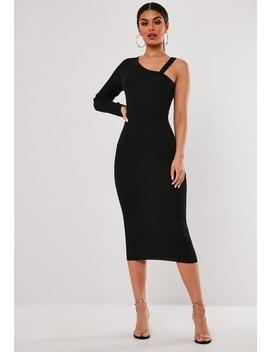 Stassie X Missguided Black Cut Out One Shoulder Knitted Midi Dress by Missguided