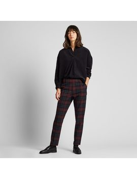 women-ezy-brushed-checked-ankle-length-trousers by uniqlo
