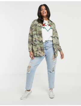 new-look-curve-long-line-utility-jacket-in-camo-print by new-look-curve