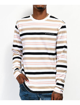 Diamond Supply Co. Marquise White, Brown &Amp; Orange Striped Long Sleeve T Shirt by Diamond Supply