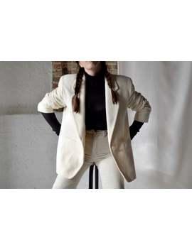 Cream White Wool/Cashmere Boxy Blazer / Long Line Blazer / Boyfriend Blazer by Etsy