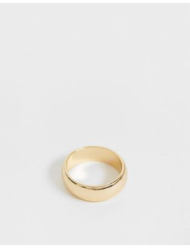 Asos Design Thick Band Ring In Gold Tone by Asos Design