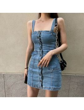 Czarine   Single Breasted Spaghetti Strap Denim Mini Dress by Czarine