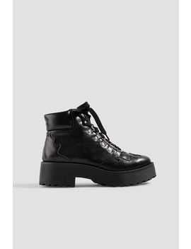 Cleated Western Detail Laceup Ankle Boot Black by Na Kd Shoes