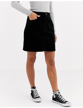 new-look-cord-pocket-mini-skirt-in-black by new-look