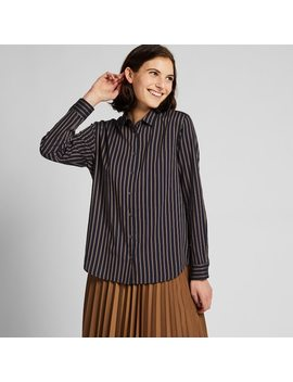 Women Rayon Striped Long Sleeved Blouse by Uniqlo