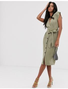 Asos Design Obi Belt Button Through Sleeveless Midi Dress by Asos Design