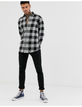 Only &Amp; Sons Slim Shirt In Black Brushed Check Cotton by Only & Sons