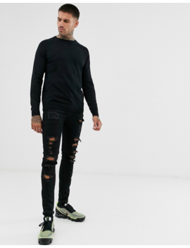 Pull&Amp;Bear Crew Neck Lightweight Sweater In Black by Pull&Bear
