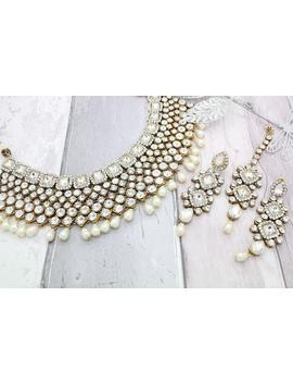 gold-silver-kundan-pearl-indian-bollywood-choker-necklace-tikka-&-earring-set-bridal-wedding by etsy