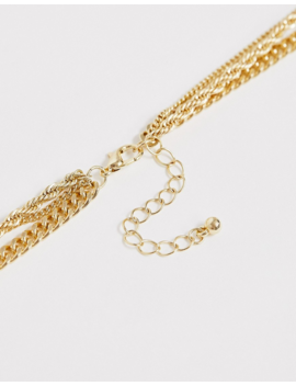 Asos Design Layered Neckchain With Cross Pendant In Gold Tone by Asos Design