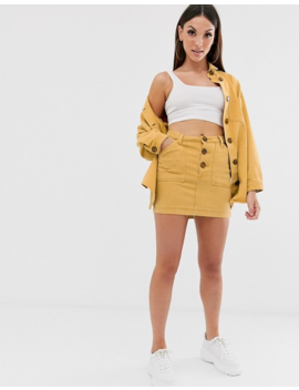 missguided-two-piece-denim-mini-skirt-in-mustard by missguided