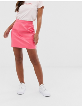 Glamorous Faux Leather A Line Skirt In Pink by Glamorous