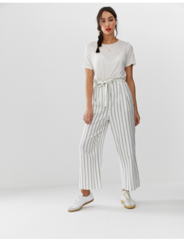 Asos Design Tall Linen Tie Waist Culottes In Stripe by Asos Design