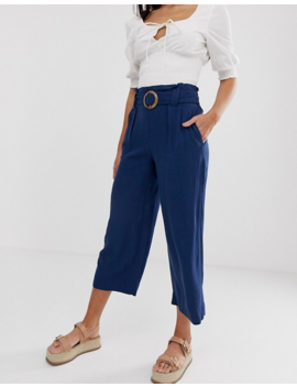 new-look-tall-buckle-detail-cropped-pants-in-navy by new-look-tall
