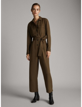 100 Percents Lyocell Jumpsuit With Pockets And Belt by Massimo Dutti