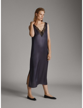 Camisole Dress With Lace Trim by Massimo Dutti