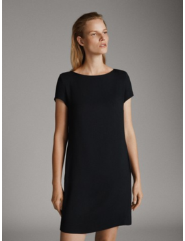 Short Sleeve Black Dress by Massimo Dutti
