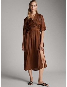 Vented Dress With Belt by Massimo Dutti