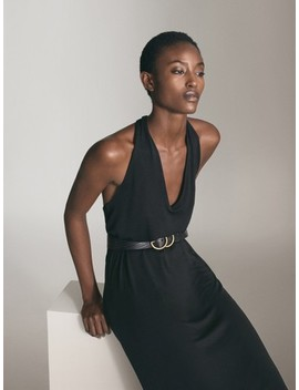 Black Lyocell Halter Dress by Massimo Dutti