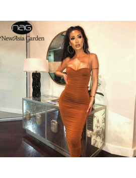 New Asia 2 Layers Summer Dress Women Pleated Long Dress Sexy Spaghetti Straps Ruched Party Dress Brown Vestidos Robe Femme 2019 by Ali Express