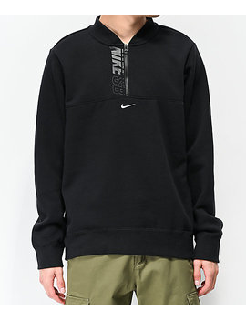Nike Sb Icon Black Quarter Zip Sweatshirt by Nike Sb