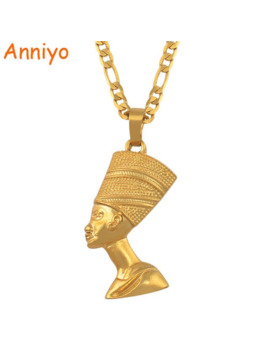 Anniyo Egyptian Queen Nefertiti Pendant Necklaces For Women Men Jewelry Gold Color Wholesale Jewellery African Gift #163506 by Ali Express