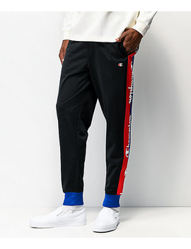Champion Taped Black Tricot Track Pants by Champion