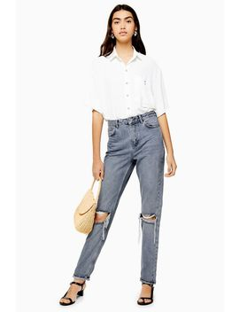 Grey Cast Double Rip Mom Jeans by Topshop