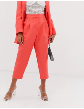 asos-design-petite-exaggerated-80s-tapered-suit-pants-in-coral by asos-design