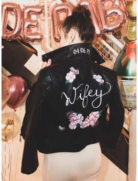 Hand Painted Leather Jacket / Customizable Bridal Jacket / Personalized Faux Leather Jacket by Etsy