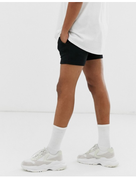 Asos Design Jersey Skinny Shorts In Shorter Length With Contrast Drawcord In Black by Asos Design