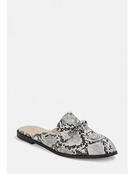 Grey Snake Print Chain Detail Slip On Mules by Missguided