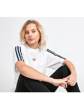 Womens Floating Trefoil T Shirt | White / Navy by Adidas Originals