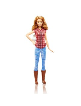 Barbie Careers Farmer Doll With Red Plaid Top & Chicken by Barbie