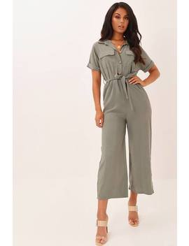 Khaki Wide Leg Button Front Jumpsuit by I Saw It First