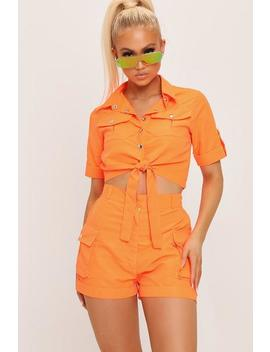 Neon Orange Button Front Utility Tie Crop Shirt by I Saw It First