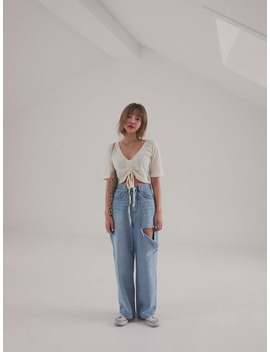 Cutout Thigh Wide Leg Jeans by Stylenanda