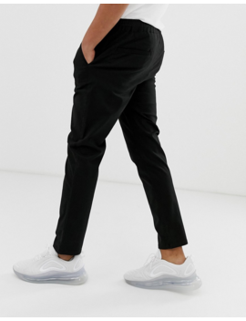 asos-design-slim-chinos-with-elastic-waist-in-black by asos-design