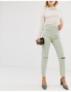 Asos Design – Farleigh – Schmal Geschnittene Mom Jeans In Minzgrün Mit Hohem Bund, Rissen Und Grobem Saum by Asos