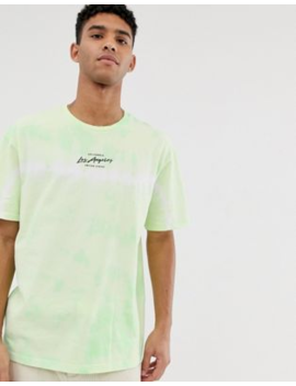 Topman Tie Dye La T Shirt In Green by Topman