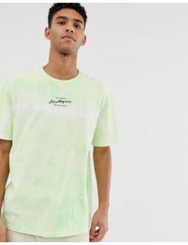 topman-tie-dye-la-t-shirt-in-green by topman
