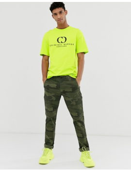 Criminal Damage Oversized T Shirt In Neon Yellow With Logo by Criminal Damage's