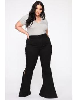cant-tell-me-nothing-flare-jeans---black by fashion-nova