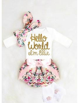 Baby Girl Coming Home Outfit, Baby Girl Clothes, Newborn Girl Coming Home Outfit Hello World Personalized Newborn Outfit Baby Girl Outfits by Etsy