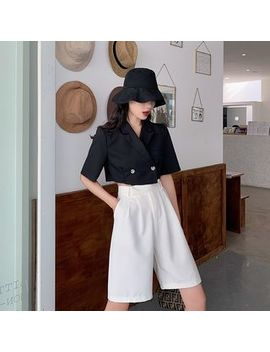 Be Bonita   Lapel Collar Double Buttoned Cropped Top / High Waist Plain Shorts by Be Bonita